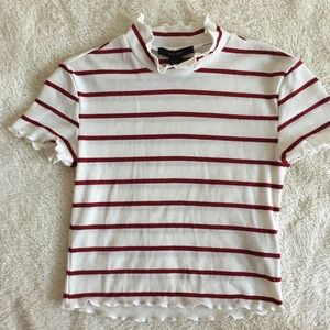 Forever 21 white and maroon striped mock neck tee